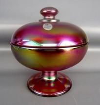 FENTON ART GLASS - RUBY SATIN AMBERINA Candy Box with Lid 4304 - $76.50