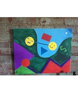 Fun Abstract Monster Money CANVAS WALL ART Creative Art  Handmade Unique... - $59.39