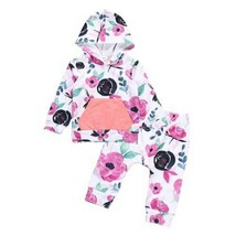 Baby Clothing Baby Girls Infant Clothes Patchwork Hooded Tops Hoodie + Long - $13.85+