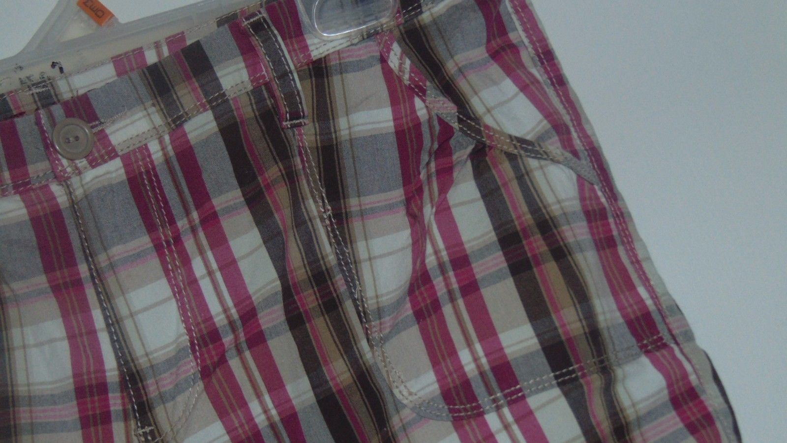 Ladies S 12 Gitano Stretch Walking Bermuda Shorts Plaid Gray-Brown-Gray 4 Pocket