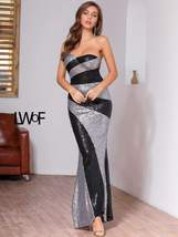 Colorblock Tube Sequin Bodycon Dress Silver Black - $81.99+