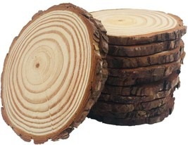 10pcs Wood Slices Unfinished Natural with Tree Barks Large Circle Rustic... - $35.77