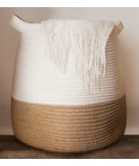 "Large Woven Rope Basket | 17 x 17"" Tall Decorative Blanket Basket for Li... - $76.16"