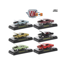 Detroit Muscle 6 Cars Set Release 37 IN DISPLAY CASES 1/64 Diecast Model... - $49.34