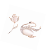Gold Pink Crystal Swan Elegant Brooch Pin Set to 2 for Party Wear Gift W... - $21.82