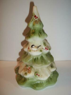 Fenton Glass Chickadee Bird Pinecone Christmas Tree Figurine Ltd Ed #32/32 Kibbe