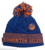Edmonton Oilers NHL Reebok Blue Orange Logo Pom Ball Knit Hat Cap Winter... - €13,32 EUR