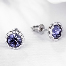 STUNNING RHINESTONE PURPLE FLOWER ROSE STUD EARRINGS BY BETSEY JOHNSON  - $12.73