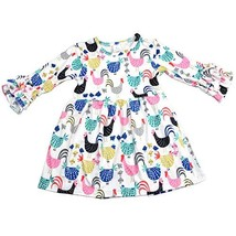 Baby Girl Cartoon Chicken Long-Sleeves Ruffle Dress Birthday Party Flora... - $29.67