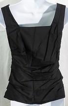 Ann Taylor women 0 black sleeveless blouse back zipper  - $7.92