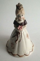 """Vintage Ceramic Girl Bell Of The Ball Beige Brown 7""""Tall Handpainted Mid... - $17.18"""
