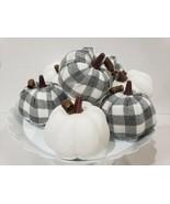 (8) Thanksgiving Fall Gray Buffalo Check Pumpkins Crafts Tabletop Decor - $26.99