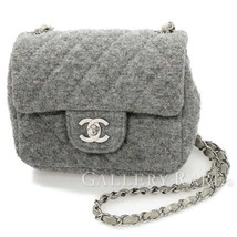 CHANEL Shoulder Bag Mini Wool Leather Gray Matelasse A29978 Authentic 50... - $1,680.63