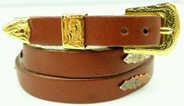BROWN HATBAND Natural Leather with SILVER CONCHOS and BUCKLE SET Hat Band - $13.54