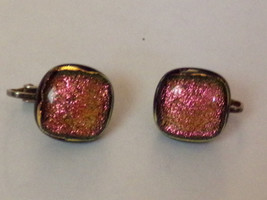 Glass Orchids Hand Crafted Dichroic Fused Jewelry Clip On Earrings Pink Glitter - $4.51