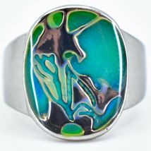 Silver Painted Abstract Design Color Changing Contrasting Mood Ring image 3