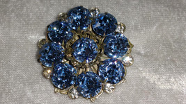 vintage pin brooch sky blue & clear rhinestones filigree opulent silver ... - $18.00