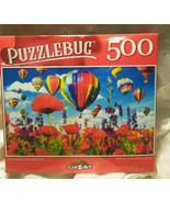 Puzzlebug 500 Piece Puzzle Hot Air Balloons Over Poppy Field Family fun - $9.88
