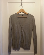 Ann Taylor Cotton Blend Cardigan Sweater Light Gray Size M, Pre-owned - $17.69