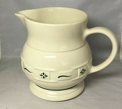 Longaberger Pottery 2 QUART LARGE MILK PITCHER Heritage Green Made in USA - $28.42