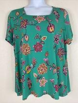 Susan Graver Womens Plus Size 2X Green Floral Liquid Knit Blouse Short S... - $25.20