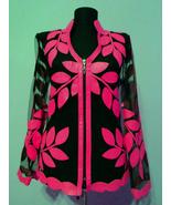 V Neck Pink Leather Leaf Jacket Womens All Colors Sizes Lightweight Shor... - $150.00