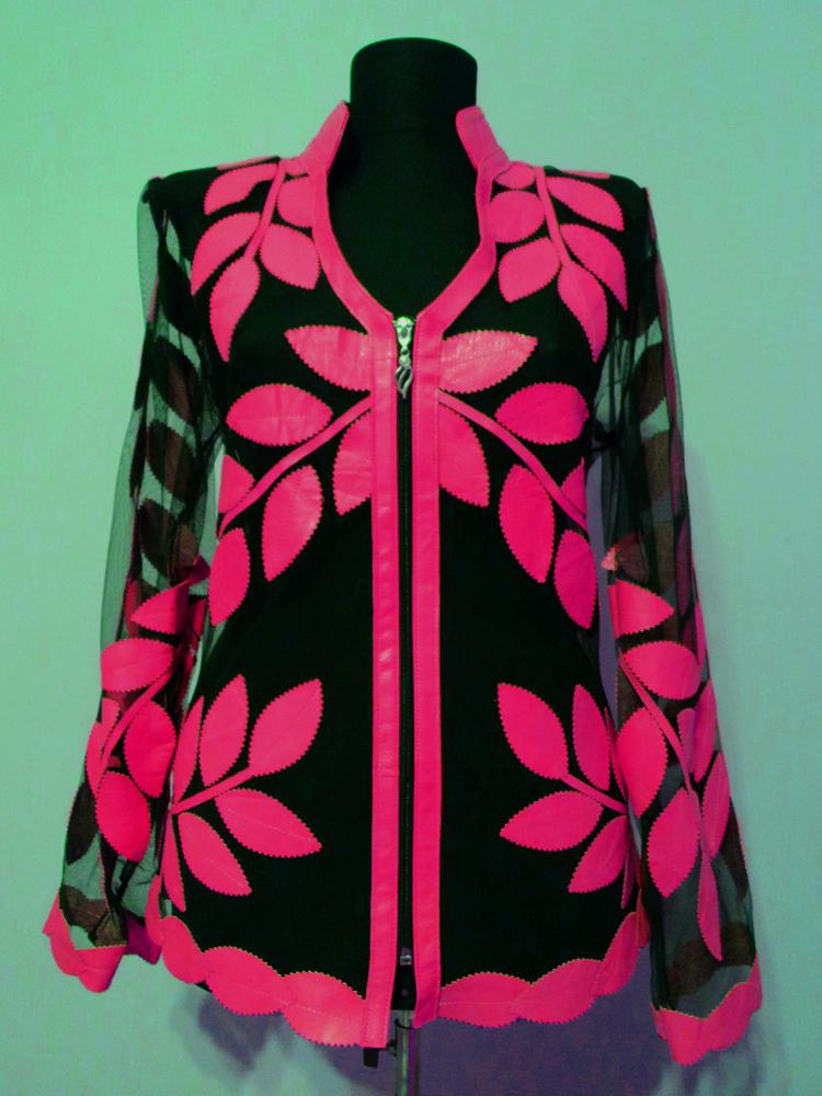 Pink leather leaf jacket women v neck design 10 genuine short zip up light lightweight xl 1