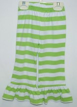lanks Boutique Girls Lime White Stripe Ruffle Pants Size 18 Months image 1