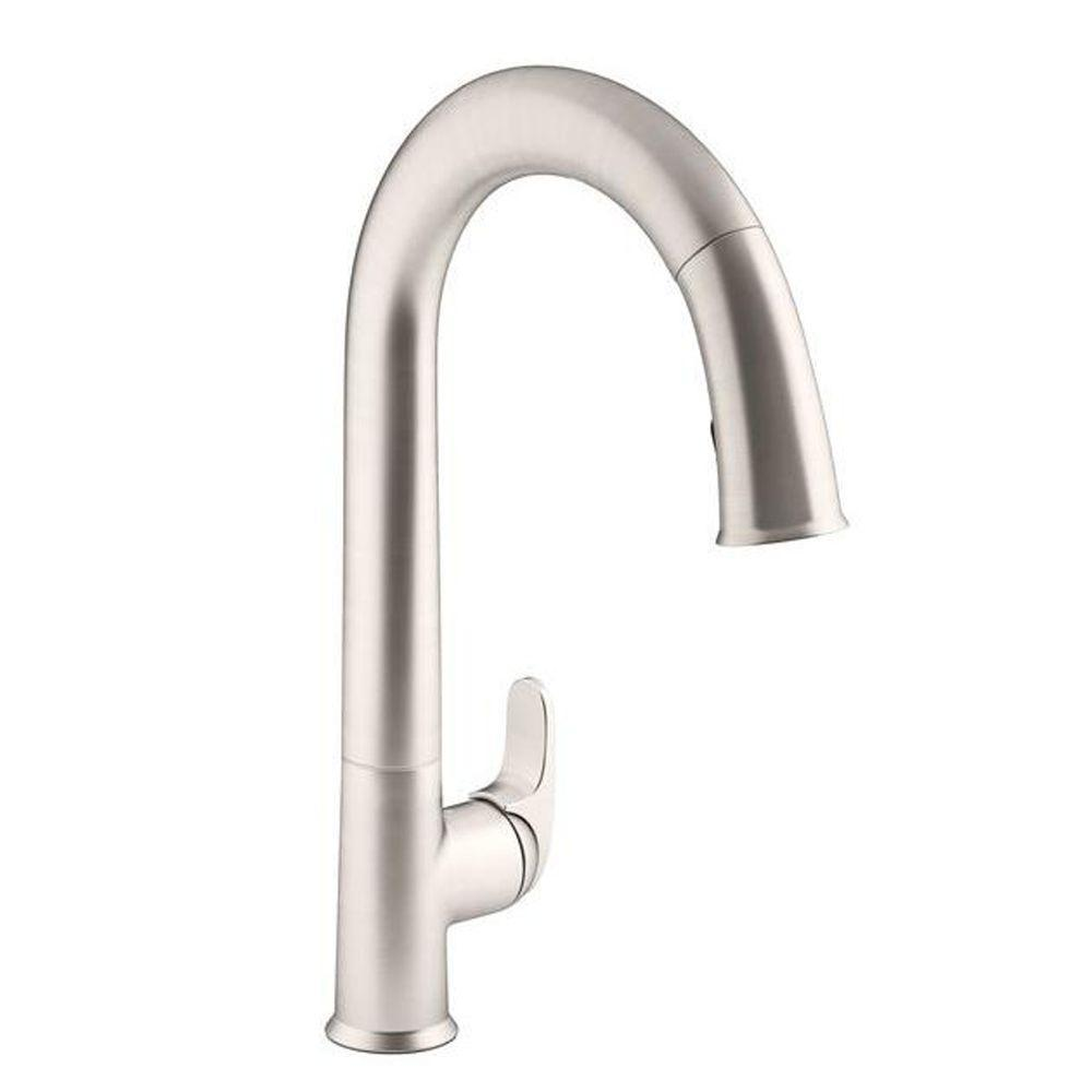 Primary image for Sensate Single-Handle Touchless Pull Down Sprayer Kitchen Faucet in Vibrant Stai