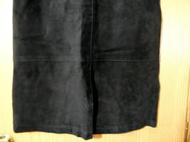 SKOTTS SUEDE Washable Leather Skirt sz 4 Black Midi Straight pencil fit Canadian image 2
