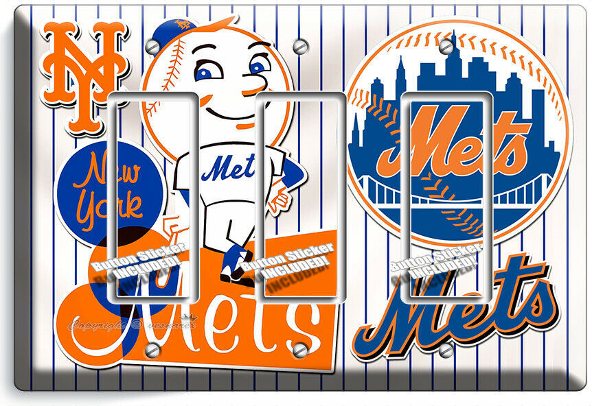 RETRO MR MET NEW YORK METS BASEBALL TEAM 3 GFI LIGHT SWITCH PLATE ROOM ART DECOR