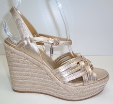 Coach Size 11 DOTTIE Platinum Espadrille Wedge Leather Sandals New Womens Shoes - $127.71