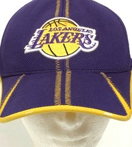 Vintage Lakers Hat Cap NBA Basketball Stretch Fitted Reebok 1 Sz Purple Yellow - $49.00