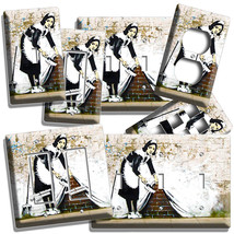 Banksy Maid Brick Wall Graffiti Light Switch Outlet Plates Dorm Room Home Decor - $9.29+
