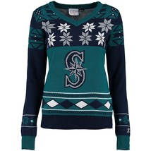 NEW MLB KLEW SEATTLE MARINERS WOMENS BIG LOGO V-NECK UGLY SWEATER PARTY ... - $64.99