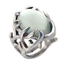 New NOS House of Harlow 1960 silver tone metal antler glass orb cabochon... - $24.74