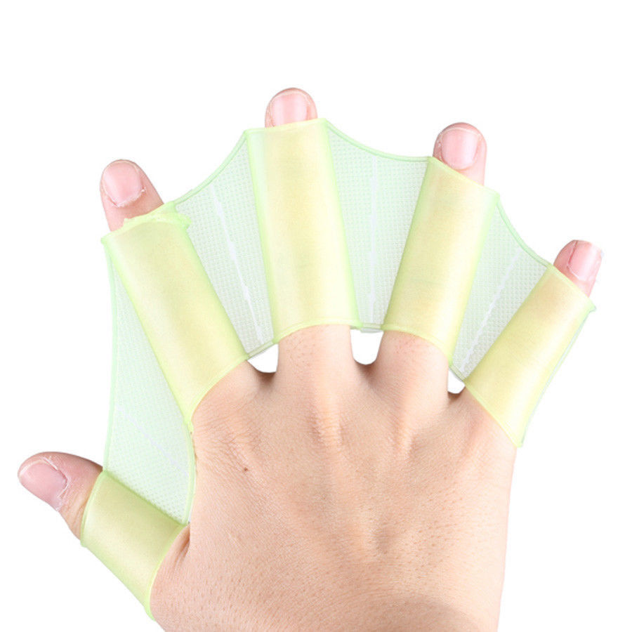 Hand Swimming Fins Flippers Swim Palm Finger Webbed Silicone Gloves Paddle S M L