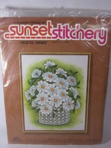 Sunset Stitchery Kit FROSTED DAISIES Retro Colors SEALED 1981 Vintage - $14.84