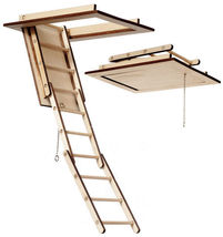 DOLLHOUSE MINIATURE FOLDING ATTIC STAIRS #AM2299 - $39.59