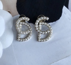 """100% Authentic Christian Dior """"Your Dior"""" CD Logo Initial Pearl Stud Earrings image 5"""