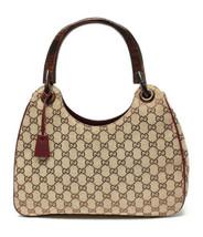 Auth Gucci GG Supreme Shoulder Bag Beige Zipper Inner Pocket Canvas Wood... - $517.77