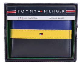 Tommy Hilfiger Men's Leather Wallet Passcase Billfold Rfid Navy Black 31TL220053