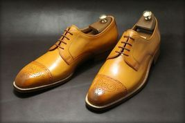 Handmade Men's Brown Two Tone Brogues Slip Ons Dress/Formal Leather Oxford Shoes image 2