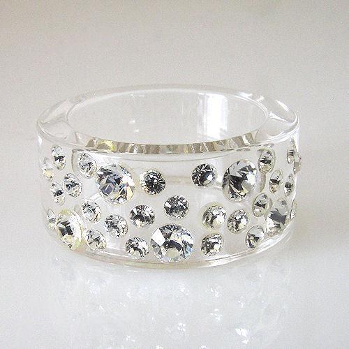 New Clear Acrylic Band Ring Large & Small Randow Row Swarovski Elements Crystal image 3