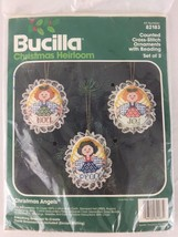 Bucilla Counted Cross Stitch Ornament Kit 82183 Christmas Angels Set of 3 Noel - $14.80