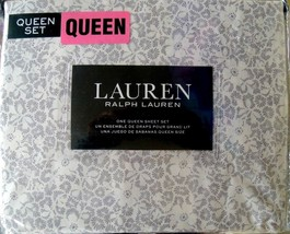 RALPH LAUREN QUEEN SHEET SET WHITE WITH GRAY GREY FLOWERS FREE GIFT - $83.66