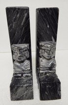 "MEXICO Aztec MARBLE Bookends Statues Figures BLACK GRAY Heavy 7.5"" VINTAGE - $49.95"