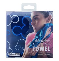 Disney Parks Mickey Mouse Blue Icon Cooling Towel By Coolcore New with Box - $22.02