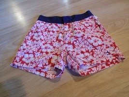 Girl's Size 8 Tommy Hilfiger Red White Pink Floral Shorts Navy Trim EUC - $14.00