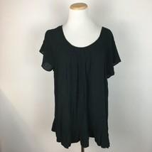Gap Women's Black Ruffled Boho Hippie Peasant Top Shirt Size XL Extra Large - $11.87